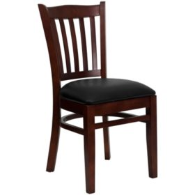 Hospitality Chair Mahogany Wood - Vertical Slat Back - Black Vinyl Upholstered Seat - 4 Pack