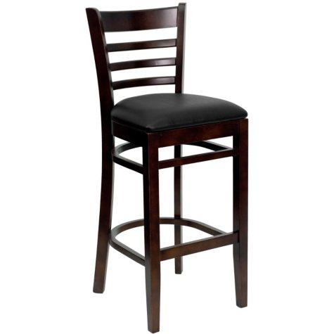 Hospitality Stool Walnut Wood - Ladder Back - Black Vinyl Upholstered Seat - 8 Pack