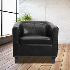Flash Furniture Leather Reception Chair, Black