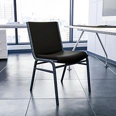 Hercules Padded Vinyl Stacking Chair Black