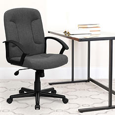 Flash Furniture Mid-Back Fabric Task & Computer Chair Arms, Gray
