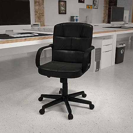 Flash Furniture Mid-Back Leather Office Chair with Nylon Arms - Black