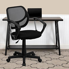 Flash Furniture Mid-Back Mesh Task & Computer Chair with Arms - Black