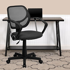 Flash Furniture Mid-Back Mesh Task & Computer Chair with Arms - Gray