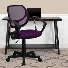 Flash Furniture Mid-Back Mesh Task & Computer Chair with Arms - Purple