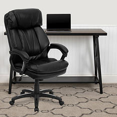 Flash Furniture Hercules Series High-Back Leather Executive Office Chair, Black