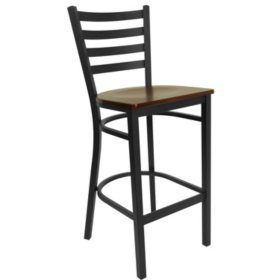 Hospitality Stool Black Metal - Ladder Back - Mahogany Finished Wood Seat - 16 Pack