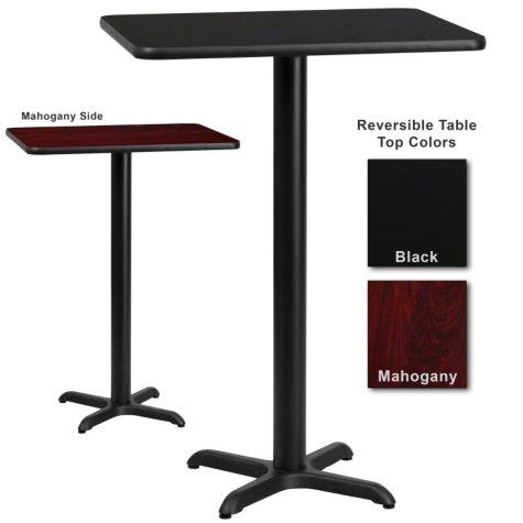 """Bar Height Hospitality Table - X-Base - Black/Mahogany - 30"""" x 30"""" - 6 Pack"""
