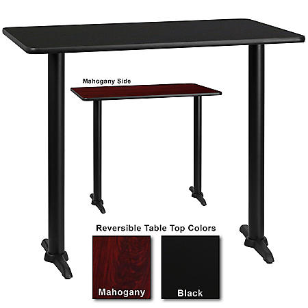 """30"""" x 48"""" Bar-Height Hospitality Table with T-Base, Black/Mahogany (6 Pack)"""