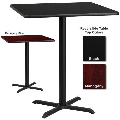 """Bar Height Hospitality Table  X-Base - Black/Mahogany - 36"""" x 36"""" - 1 pk."""