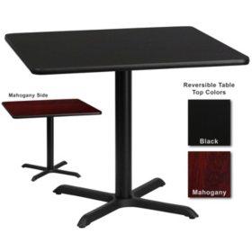 """Hospitality Table  Square - Black/Mahogany - 36"""" x 36"""" - 1 pk."""