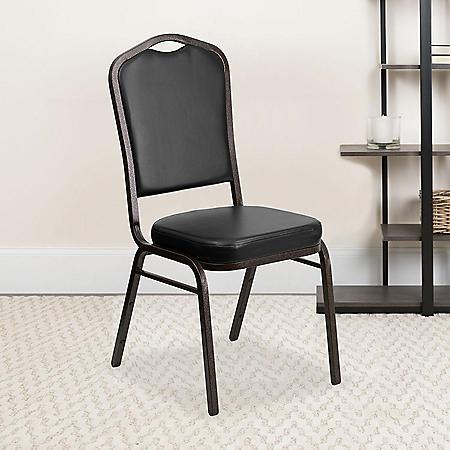 Flash Furniture Hercules Series Crown Back Vinyl Banquet Stack Chair Black