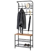Honey-Can-Do Steel Entryway Hall Tree with Bench, Black