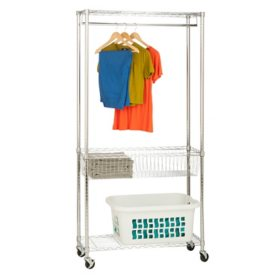 Honey-Can-Do Chrome Rolling Laundry Clothes Rack with Shelves