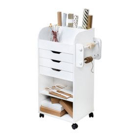 Honey-Can-Do Rolling Craft Storage Cart, White