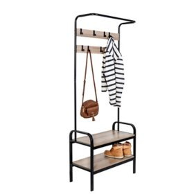 Honey-Can-Do Steel Entryway Hall Tree with Bench, Willow Gray