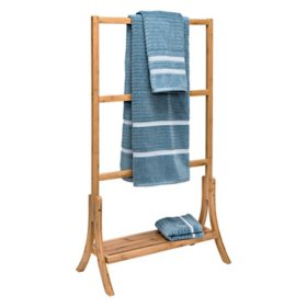 Honey-Can-Do Natural Bamboo 3-Tier Towel Rack with Shelf