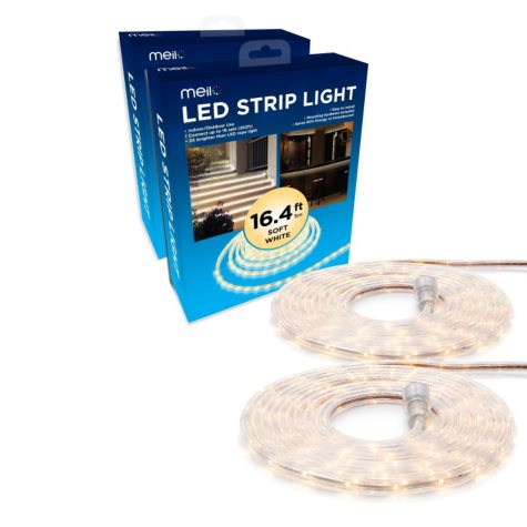 2 Pack of 16.4ft (32.8ft in total), All Occasions Indoor Outdoor LED Total Strip Light Home Commercial Decoration (Soft White)