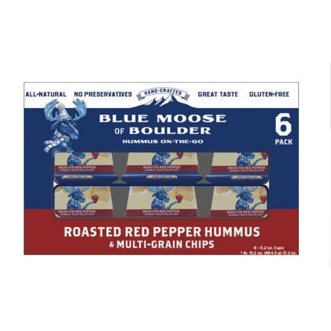 Blue Moose of Boulder Roasted Red Pepper Hummus & Multi-Grain Chips (5.2 oz. ea., 6 pk.)