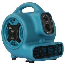 P-230AT 1/4 HP 925 CFM 3-Speed Mini Air Mover/Floor Dryer/Utility Blower Fan with Timer and Power Outlets
