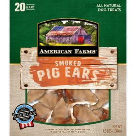 American Farms Smoked Pig Ears All Natural Dog Treats (1.5 lbs.)