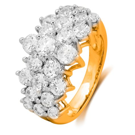 3.00 CT. T.W. Round-Cut Diamond Pyramid Fashion Ring in 14K Yellow Gold (I, I1)
