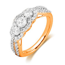 1.00 CT. T.W. Round Cut Diamond Three-Stone Plus Ring in 14K Yellow Gold (I, I1)