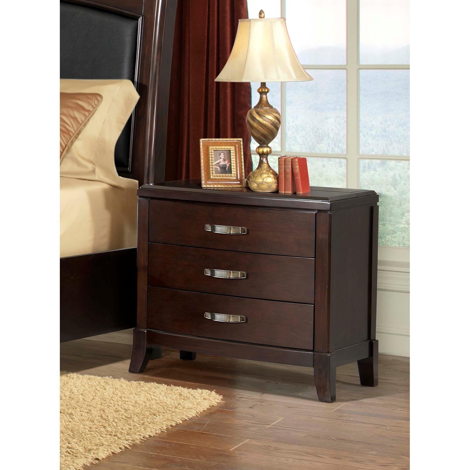 Society Den Elaine Nightstand with Power Strip and USB Ports