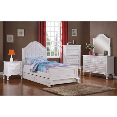 Jenna Full Bed with Rolling Trundle Bedroom Set (Assorted Sizes)