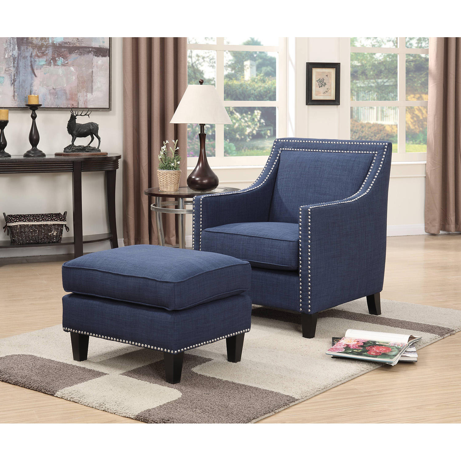 Society Den Emery Accent Chair & Ottoman (Assorted Colors)