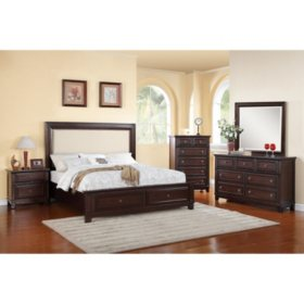 Harland Bed with Upholstered Headboard Bedroom Set (Choose Size)