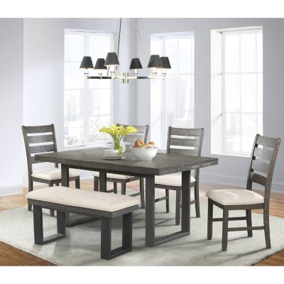 Sullivan Dining Table Side Chairs And Bench 6 Piece Set Sam S Club
