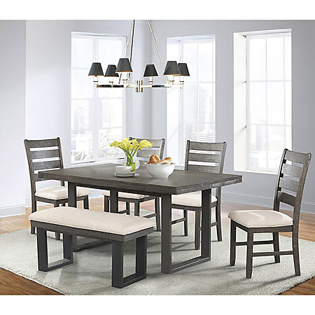 Sullivan Dining Table, Side Chairs and Bench, 6-Piece Set