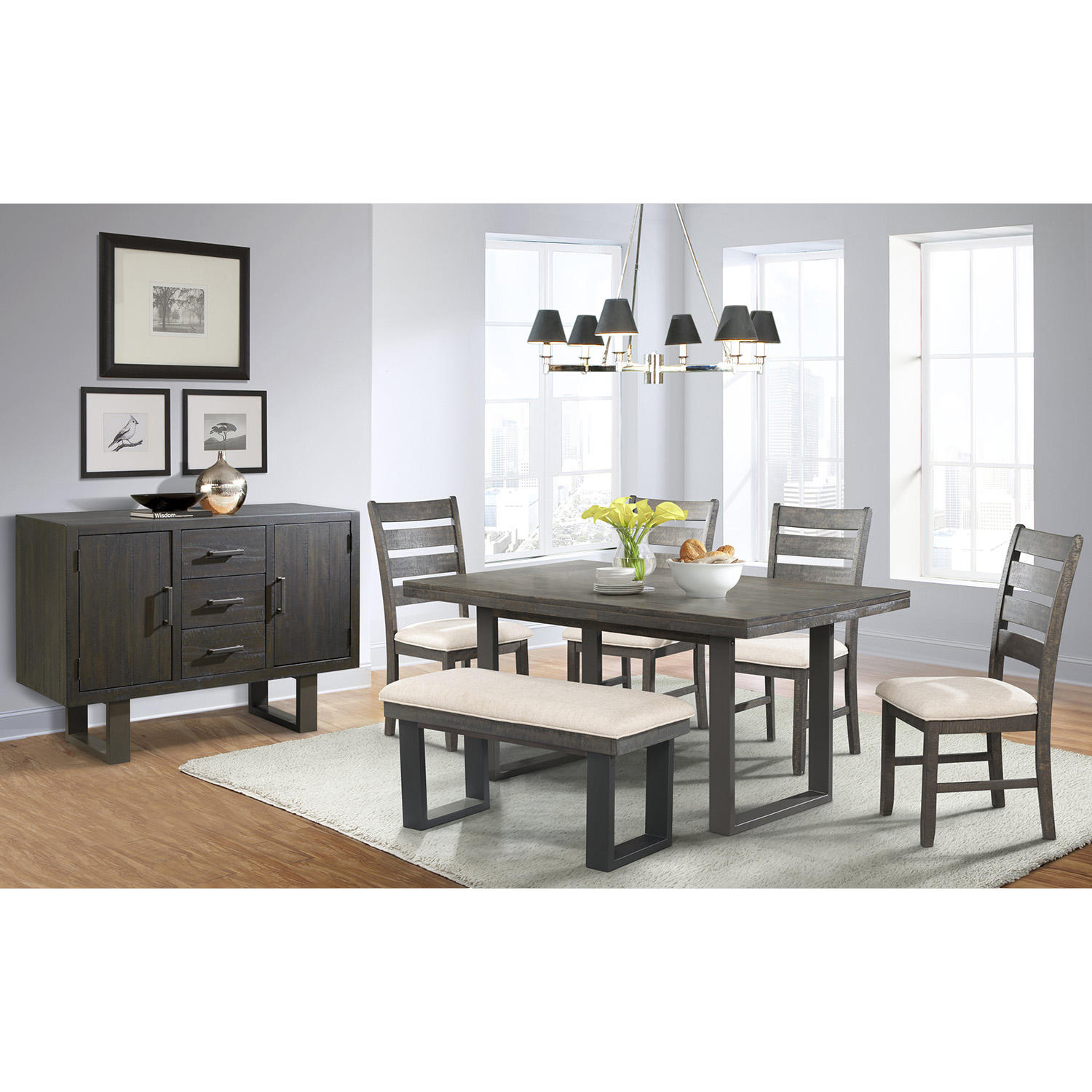 Sullivan 7-Piece Dining Table, Side Chairs, Bench and Server  Set