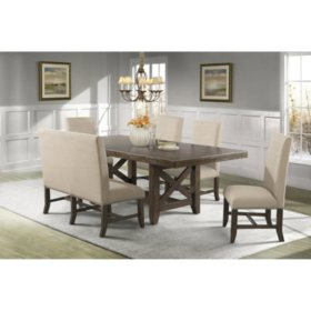 Francis Dining Table, Upholstered Side Chairs and Bench, 6-Piece Set