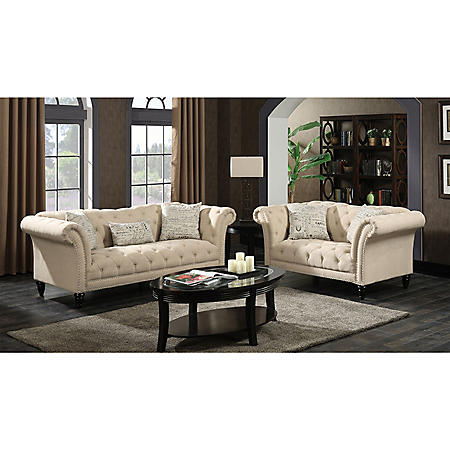 Twine Loveseat with French Script Pillows - Natural
