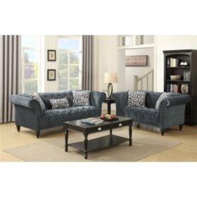 Twine Loveseat with French Script Pillows - Slate