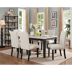 Bradley 7-Piece Dining Set, Table & 6 Upholstered Side Chairs