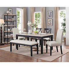 Bradley 6-Piece Dining Set, Table, 2 Upholstered Side Chairs, 2 X-Back Side Chairs & Bench