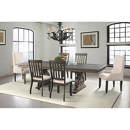 Stanford Dining Table, Side Chairs, Parson Chairs, 7-Piece Set
