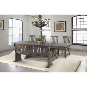 Stanford Dining Table, Side Chairs and Pew Bench, 6-Piece Set
