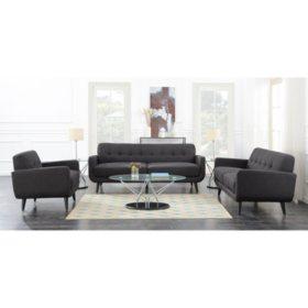 Hailey 3-Piece Sofa Set - Charcoal