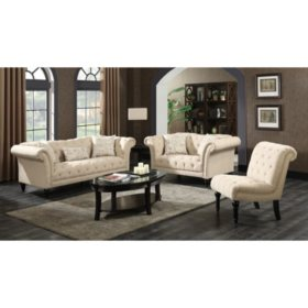 Twine 3-Piece Sofa, Loveseat, Chair Set (Assorted Colors)