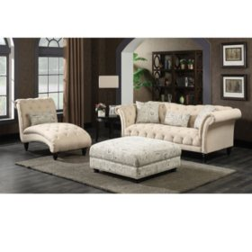 Twine 3-Piece Sofa, Chaise, Ottoman Set - Natural