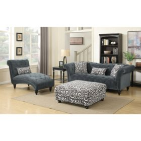Twine 3-Piece Sofa, Chaise, Ottoman Set - Slate