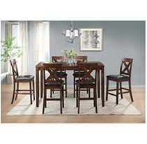 Society Den Alexa 7PC Counter Height Dining Set, Cherry
