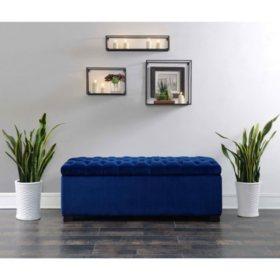 Carson Shoe Storage Bench - Navy Blue
