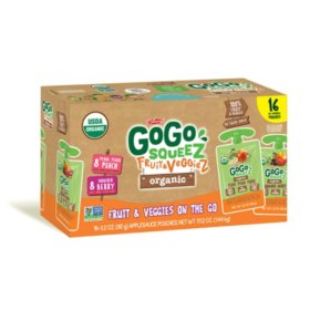 GoGo squeeZ Organic Fruit & VeggieZ, Berry/Peach (3.2 oz., 16 ct.)