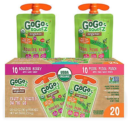 GoGo squeeZ Organic Fruit & VeggieZ, Berry/Peach (3.2 oz., 20 pk.)