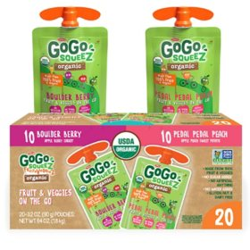 GoGo squeeZ Organic Fruit & VeggieZ, Berry/Peach (3.2 oz., 20 pk.)